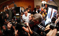Mitt Romney is surrounded by media and supporters while making a campaign stop at The Family Table restaurant in Atlantic, Iowa on Sunday, January 1, 2012.  (Christopher Gannon/GannonVisuals.com/MCT)
