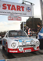Karel Mach - Jan Blaha in their Skoda 130RS at the Start Ramp of the Rallye Monte Carlo Historique 2013 which started at the People's Palace, Glasgow on 26.1.13.