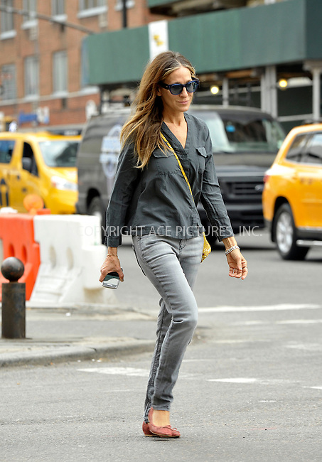 WWW.ACEPIXS.COM<br /> <br /> May 5 2015, New York City<br /> <br /> Actress Sarah Jessica Parker walks in the West Village on May 5 2015 in New York City<br /> <br /> By Line: Curtis Means/ACE Pictures<br /> <br /> <br /> ACE Pictures, Inc.<br /> tel: 646 769 0430<br /> Email: info@acepixs.com<br /> www.acepixs.com