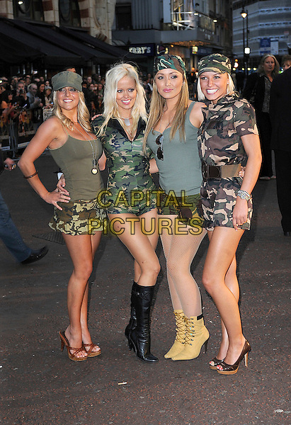 "PAGE 3 GIRLS .attending ""Tropic Thunder"" UK Premiere, Odeon Leicester Square, London, England, 16th September 2008..full length models guests green khaki army print .CAP/BEL.©Tom Belcher/Capital Pictures"