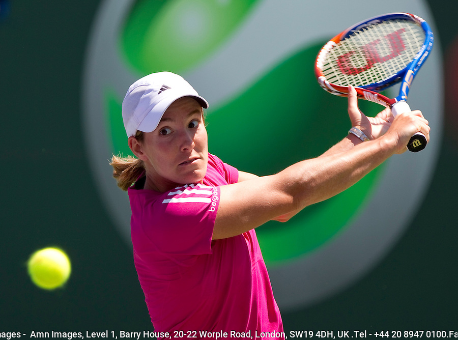 Justine HENIN (BEL) against Caroline WOZNIACKI (DEN) in the Quarter Finals of the women's singles. Justine Henin beat Caroline Wozniacki 6-7 6-3 6-4..International Tennis - 2010 ATP World Tour - Sony Ericsson Open - Crandon Park Tennis Center - Key Biscayne - Miami - Florida - USA - Wed 31st Mar 2010..© Frey - Amn Images, Level 1, Barry House, 20-22 Worple Road, London, SW19 4DH, UK .Tel - +44 20 8947 0100.Fax -+44 20 8947 0117