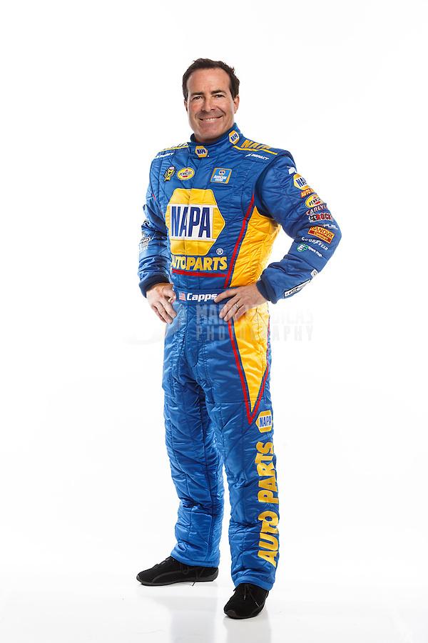 Feb 10, 2016; Pomona, CA, USA; NHRA funny car driver Ron Capps poses for a portrait during media day at Auto Club Raceway at Pomona. Mandatory Credit: Mark J. Rebilas-USA TODAY Sports