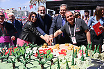 Birthday cake to celebrate the 100th edition at sign on before the start of Stage 8 of the 100th edition of the Giro d'Italia 2017, running 189km from Molfetta to Peschici, Italy. 1th May 2017.<br /> Picture: LaPresse/Gian Mattia D'Alberto | Cyclefile<br /> <br /> <br /> All photos usage must carry mandatory copyright credit (&copy; Cyclefile | LaPresse/Gian Mattia D'Alberto)