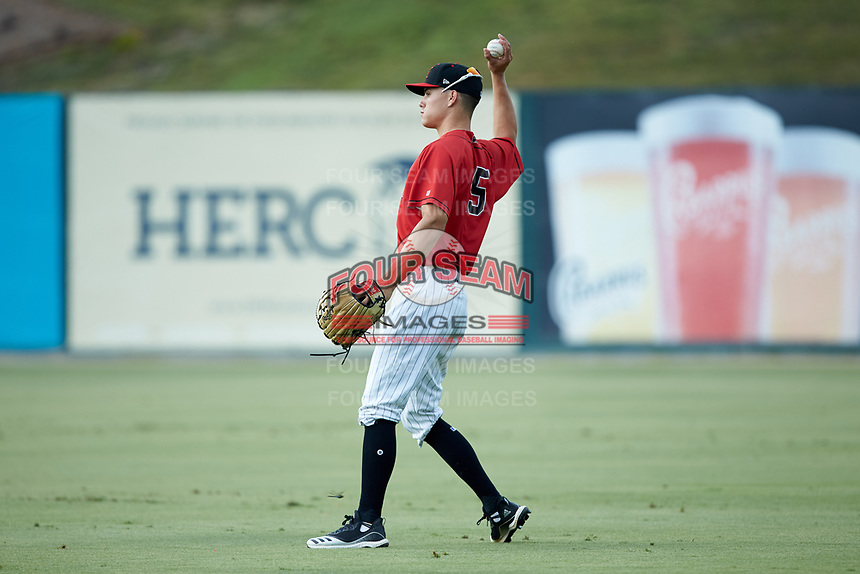 Kannapolis Intimidators right fielder Cameron Simmons (45) on defense against the Lexington Legends at Kannapolis Intimidators Stadium on August 4, 2019 in Kannapolis, North Carolina. The Legends defeated the Intimidators 5-1. (Brian Westerholt/Four Seam Images)