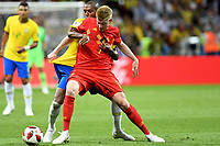 KAZAN - RUSIA, 06-07-2018: DOUGLAS COSTA (Izq) jugador de Brasil disputa el balón con Kevin DE BRUYNE (Der) jugador de Bélgica durante partido de cuartos de final por la Copa Mundial de la FIFA Rusia 2018 jugado en el estadio Kazan Arena en Kazán, Rusia. / DOUGLAS COSTA (L) player of Brazil fights the ball with Kevin DE BRUYNE (R) player of Belgium during match of quarter final for the FIFA World Cup Russia 2018 played at Kazan Arena stadium in Kazan, Russia. Photo: VizzorImage / Julian Medina / Cont