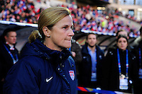Lorient, France. - Sunday, February 8, 2015: USWNT head coach Jill Ellis. USWNT vs France during an international friendly at the Stade du Moustoir.