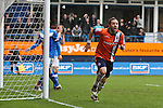 Robbie Willmott celebrates the opening goal. Luton Town FC v York City FC, Saturday 17th March 2012 at Kenilworth Road, FA Trophy Semi Fina Second Leg