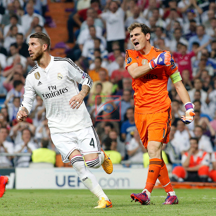 UEFA Champions League 2014-2015.<br /> Semi-finals 2nd LEG.<br /> Real Madrid CF vs Juventus: 1-1.<br /> Sergio Ramos &amp; Iker Casillas.