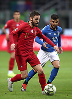 Football: Uefa Nations League Group 3match Italy vs Portugal at Giuseppe Meazza (San Siro) stadium in Milan, on November 17, 2018.<br /> Portugal's Bernardo Silva (l) in action with Italy's Lorenzo Insigne (r) during the Uefa Nations League match between Italy and Portugal at Giuseppe Meazza (San Siro) stadium in Milan, on November 17, 2018.<br /> UPDATE IMAGES PRESS/Isabella Bonotto<br /> <br /> UPDATE IMAGES PRESS/Isabella Bonotto