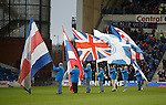 Rangers flagbearers on the pitch