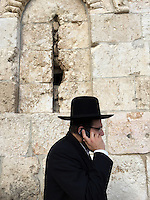 "5. ""Hasid (ultra-orthodox Jew) on Cell Phone"":  outside walls of the Old City, Jerusalem.<br />