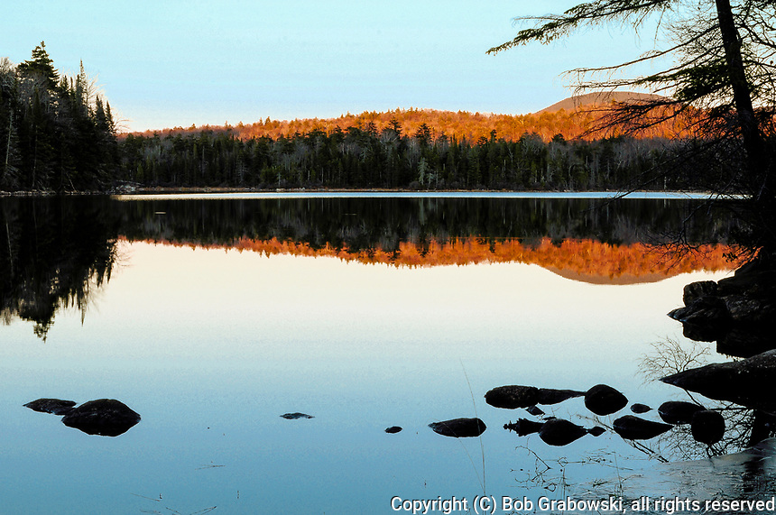 Last Light On Cedar lake In The Adirondack Mountains Of New York State
