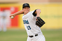 Starting pitcher Johnny Dorn #23 of the Jupiter Hammerheads in action against the Charlotte Stone Crabs at Roger Dean Stadium June 15, 2010, in Jupiter, Florida.  Photo by Brian Westerholt /  Seam Images