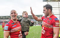 Picture by Allan McKenzie/SWpix.com - 04/03/2017 - Rugby League - Betfred Super League - Salford Red Devils v Warrington Wolves - AJ Bell Stadium, Salford, England - Salford's Michael Dobson with his son & Mark Flanagan celebrate victory over Warrington.