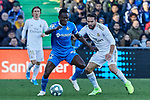 Dani Carvajal of Real Madrid and Djene Dakoman of Getafe FC during La Liga match between Getafe CF and Real Madrid at Coliseum Alfonso Perez in Getafe, Spain. January 04, 2020. (ALTERPHOTOS/A. Perez Meca)