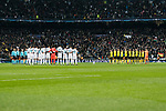 Real Madrid and Borussia Dortmund squad getting into the field during the Europe Champions League 2017-18 match between Real Madrid and Borussia Dortmund at Santiago Bernabeu Stadium on 06 December 2017 in Madrid Spain. Photo by Diego Gonzalez / Power Sport Images