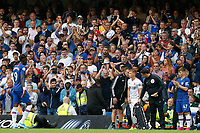 Tammy Abraham of Chelsea leaves the field to rapturous applause during the Premier League match between Chelsea and Sheff United at Stamford Bridge, London, England on 31 August 2019. Photo by Carlton Myrie / PRiME Media Images.