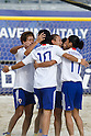 (L-R) Masahito Toma, Shusei Yamauchi, Shinji Makino, Masayuki Komaki (JPN), SEPTEMBER 02, 2011 - Beach Soccer : Shusei Yamauchi of Japan celebrates his goal with his teammate Shinji Makino during the FIFA Beach Soccer World Cup Ravenna-Italy 2011 Group D match between Japan 2-3 Mexico at Stadio del Mare, Marina di Ravenna, Italy, (Photo by Enrico Calderoni/AFLO SPORT) [0391]