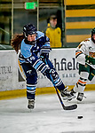 30 November 2018: University of Maine Black Bear Defender Maggie Blair, a Sophomore from Cornwall, Ontario, in first period action against the University of Vermont Catamounts at Gutterson Fieldhouse in Burlington, Vermont. The Lady Bears defeated the Lady Cats 2-1 in the first game of their 2-game Hockey East series. Mandatory Credit: Ed Wolfstein Photo *** RAW (NEF) Image File Available ***
