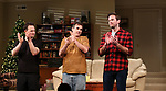 Josh Charles, Paul Schneider, Armie Hammer during the Broadway opening night curtain Call of 'Straight White Men' at Hayes Theater on July 23, 2018 in New York City.
