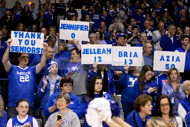 Fans made signs to support the four UK seniors on their senior night 2015 during the first half of the UK vs. South Carolina at Memorial Coliseum in Lexington , Ky., on Sunday, March 1, 2015. Photo by Jonathan Krueger | Staff