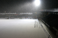 General view of the pitch and stands at Wycombe Wanderers FC covered in snow after the match was abandoned with only twenty two minutes played during Wycombe Wanderers vs Macclesfield Town, Coca Cola League Division Two Football at Adams Park on 28th October 2008