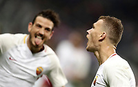 Calcio, Serie A: Milano, stadio Giuseppe Meazza (San Siro), 1 ottobre 2017.<br /> Roma's Edin Dzeko (r) celebrates after scoring with his teammate Alessandro Florenzi (l) during the Italian Serie A football match between Milan and AS Roma at Milan's Giuseppe Meazza (San Siro) stadium, October 1, 2017,<br /> UPDATE IMAGES PRESS/Isabella Bonotto