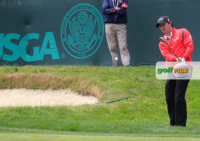 Rory McIlroy (NIR) chips onto the 17th green during Tuesday's Practice Day of the 112th US Open Championship at The Olympic Club, San Francisco,  California, 12th June 2012 (Photo Eoin Clarke/www.golffile.ie)