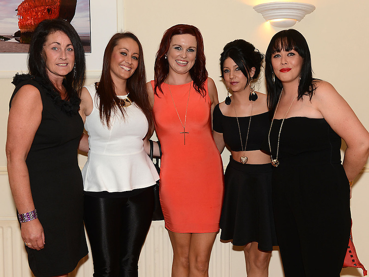 Fiona Curley pictured with friends Sandra, Ciara, Leanne and Sinead Caffrey at her going away party in the Glenside hotel. Photo:Colin Bell/pressphotos.ie