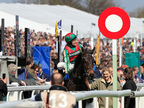14h April 2018, Aintree Racecourse, Liverpool, England; The 2018 Grand National horse racing festival sponsored by Randox Health, day 3; Tom Scudamore on Mr Big Shot after winning The Gaskells Handicap Hurdle
