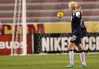 BOCA RATON, FL - DECEMBER 15, 2012: Megan Rapinoe (15) of the USA WNT after scoring a long distance goal against China WNT during an international friendly match at FAU Stadium, in Boca Raton, Florida, on Saturday, December 15, 2012. USA won 4-1.