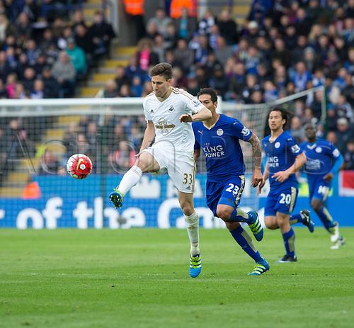 24.04.2016. King Power Stadium, Leicester, England. Barclays Premier League. Leicester versus Swansea.  Swansea City defender Federico Fernandez flicks the ball down the field.