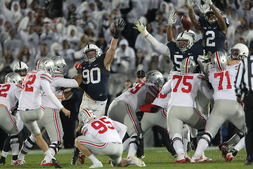 State College, PA - 10/22/2016:  Marcus Allen (2) blocks a Tyler Durbin field goal attempt late in the fourth quarter. The blocked attempt was returned for a touchdown to give Penn State the lead. Penn State upset #2 Ohio State by a score of 24-21 on Saturday, October 22, 2016, at Beaver Stadium in University Park, PA.<br /> <br /> Photos by Joe Rokita / JoeRokita.com