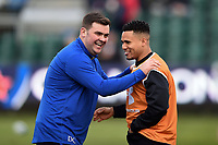 Dan Cooper of Bath Rugby has a laugh with Juan De Jongh of Wasps during the pre-match warm-up. Heineken Champions Cup match, between Bath Rugby and Wasps on January 12, 2019 at the Recreation Ground in Bath, England. Photo by: Patrick Khachfe / Onside Images