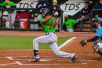 Lake County Captains outfielder Quentin Holmes (33) at bat during a Midwest League game against the Wisconsin Timber Rattlers on May 10, 2019 at Fox Cities Stadium in Appleton, Wisconsin. Wisconsin defeated Lake County 5-4. (Brad Krause/Four Seam Images)
