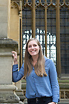 Eleanor Catton, 2013 Booker Prize winning author of The Luminaries, outside the Diviniy School during the FT Weekend Oxford Literary Festival, Oxford, UK. Sunday 30 March 2014.<br /> <br /> PHOTO COPYRIGHT Graham Harrison<br /> graham@grahamharrison.com<br /> <br /> Moral rights asserted.