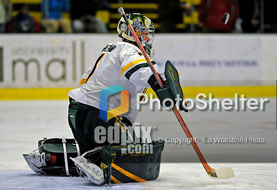 7 February 2009: University of Vermont Catamount goaltender John Vazzano, a Freshman from Trumbull, CT, warms up prior to facing the Providence College Friars in the second game of a weekend series at Gutterson Fieldhouse in Burlington, Vermont. The Catamounts swept the 2-game series notching 4-1 wins in both games. Mandatory Photo Credit: Ed Wolfstein Photo