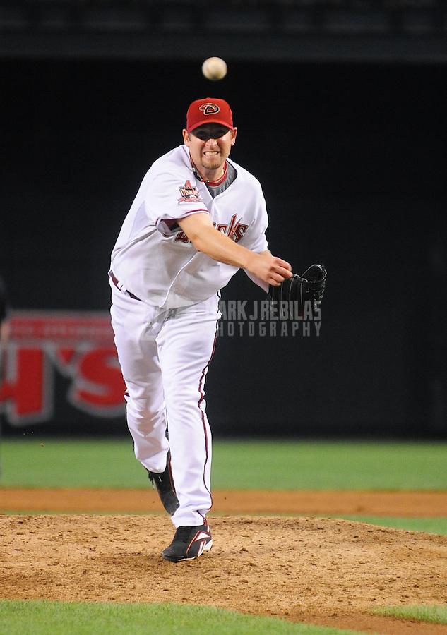 May 8, 2008; Phoenix, AZ, USA; Arizona Diamondbacks pitcher Brandon Webb pitches against the Philadelphia Phillies at Chase Field. Mandatory Credit: Mark J. Rebilas-