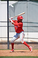 Philadelphia Phillies Jonathan Guzman (8) during a Minor League Spring Training game against the Pittsburgh Pirates on March 23, 2018 at the Carpenter Complex in Clearwater, Florida.  (Mike Janes/Four Seam Images)