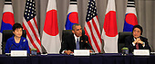 United States President Barack Obama and Vice President Joseph Biden attend a  trilateral meeting with President Park Geun-Hye of the Republic of Korea and Prime Minister Shinzo Abe of Japan at the Nuclear Security Summit in Washington, DC on March 31, 2016.<br /> Credit: Dennis Brack / Pool via CNP