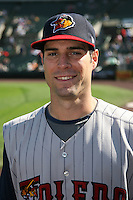 June 21, 2009:  Second Baseman Scott Sizemore of the Toledo Mud Hens poses for a head shot before a game at Frontier Field in Rochester, NY.  The Toledo Mud Hens are the International League Triple-A affiliate of the Detroit Tigers.  Photo by:  Mike Janes/Four Seam Images