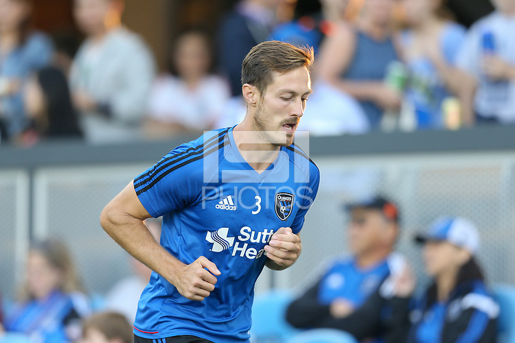 San Jose, CA - Saturday August 19, 2017: San Jose Earthquakes warmups, Francois Affolter prior to a Major League Soccer (MLS) match between the San Jose Earthquakes and the Philadelphia Union at Avaya Stadium.