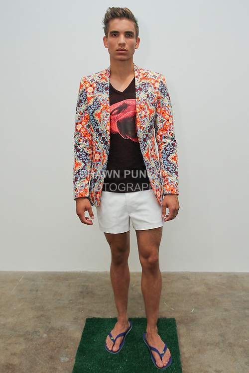 Model poses in an outfit from the Franco Lacosta Spring Summer 2016 collection, during Fashion Week New York Men's Spring Summer 2016.