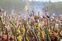 Crowd Celebrating at Color Run Music Concert, Seattle Center, Washington State, WA, America, USA.