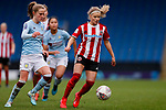 Marisa Ewers of Aston Villa pressures Olivia Fergusson of Sheffield United during the The FA Women's Championship match at the Proact Stadium, Chesterfield. Picture date: 12th January 2020. Picture credit should read: James Wilson/Sportimage