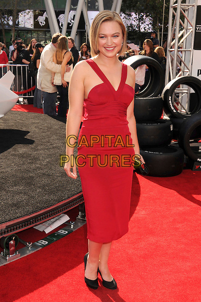 "SOPHIA MYLES .""Speed Racer"" Los Angeles Premiere at the Nokia Theatre, Los Angeles, California, USA, 26 April 2008..full length red dress .CAP/ADM/BP.©Byron Purvis/Admedia/Capital PIctures"
