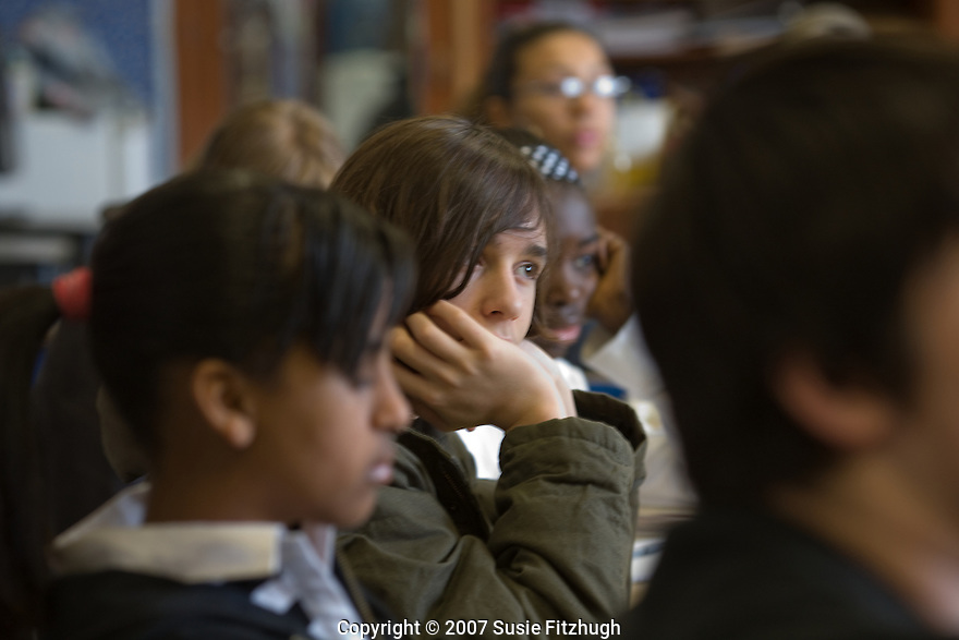 Students listening in class. Karen Finneyfrock leads writing exercises in Kristin Nichol's classroom at Summit K-12, Seattle WA. [Writers in the Schools]