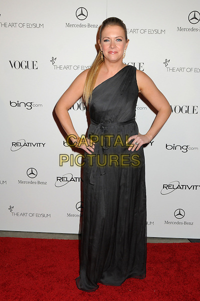 "MELISSA JOAN HART .attends the Art of Elysium 4th Annual Charity Gala ""Heaven"" held at The Annenberg Building at The California Science Center in Los Angeles, California, USA, January 15th 2011..full length long maxi tied belt  grey gray one shoulder dress .CAP/ADM/BP.©Byron Purvis/AdMedia/Capital Pictures."