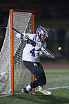 High Point Panthers goalie Tim Troutner Jr. (42) makes a save during second half action against the Virginia Cavaliers at Vert Track, Soccer & Lacrosse Stadium on February 20, 2018 in High Point, North Carolina.  The Cavaliers defeated the Panthers 18-12.  (Brian Westerholt/Sports On Film)