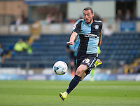 Goalscorer Michael Harriman of Wycombe Wanderers in action during the Sky Bet League 2 match between Wycombe Wanderers and Hartlepool United at Adams Park, High Wycombe, England on 5 September 2015. Photo by Andy Rowland.